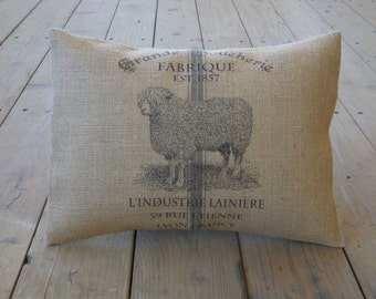 French Sheep Burlap Pillow,  Farmhouse Pillows, Shabby Chic, INSERT INCLUDED