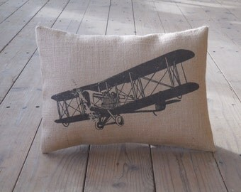 Biplane Burlap Pillow, Aviation,  Airplanes, Airplane Nursery, INSERT INCLUDED