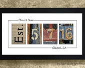 WEDDING GIFT IDEAS  - Personalized Wedding Gift Idea, Wedding Date Sign, Wedding Date Number Art