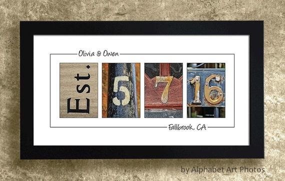 WEDDING GIFT IDEAS  - Personalized Wedding Gift Idea, Wedding Date Sign, Wedding Date Number Art