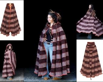 2 tone fleece 'Dolmantelle' Cloak. Lull length. 12 stripe straight Hem. 24 stripe ultimate pixie hood