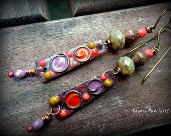 Boho, Rustic, Orange Coral Purple Mustard Earrings, Artisan, Enameled Earrings, Copper Earrings, Beaded Earrings, Funky, OOAK