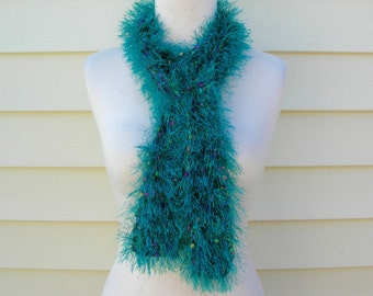 SUMMER SALE Handmade Plush Green Knit Long Oblong Scarf, confetti ribbon squares, great neck warmer too