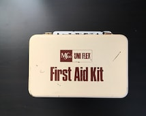 Vintage Metal Uni/Flex First Aid Kit Box, Ivory and White Metal Hinged Box, Vintage Metal Supply Box