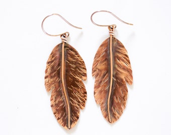 Feather Earrings / Feather Jewelry / Copper Jewelry / Wanderlust Jewelry / Boho Chic / Copper Earrings / Gift for Her / Empowering Jewelry