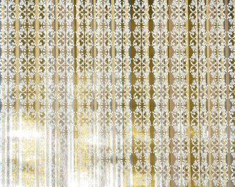 Retro Wallpaper by the Yard 70s Vintage Mylar Wallpaper - 1970s Metallic Gold White and Silver Mylar Wallpaper