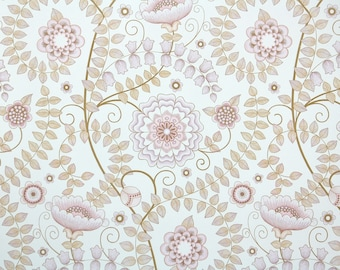 Retro Wallpaper by the Yard 70s Vintage Wallpaper - 1970s Lavender Mauve and Taupe Floral