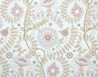 Charming Retro Wallpaper By The Yard 70s Vintage Wallpaper   1970s Lavender Mauve  And Taupe Floral Design Ideas