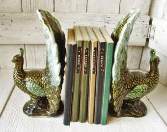 2 vintage ceramic peacock figurines greens Japan 1950s