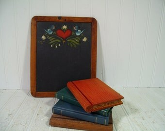 Antique School Room Rustic Chalk Slate with Primitive Toleware Hand Painted Design & Hand Crafted Wood Books Set of 4 for Vintage Display