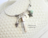 Wild and Free Like the Sea Bangle Bracelet... Message in a Bottle... Beach Themed... Inspirational