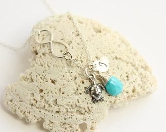 Sterling Silver Infinity Sea Turtle Necklace  -- Choose Your Personalized Birthstone and Initial