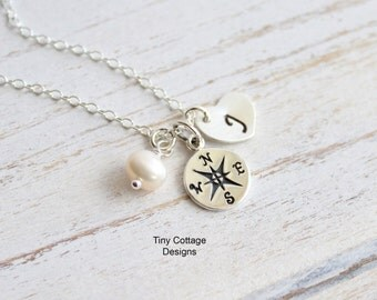 Follow Your Heart... Sterling Silver Compass Initial Heart Necklace -- Personalized --  Graduation -- Journey -- Teacher