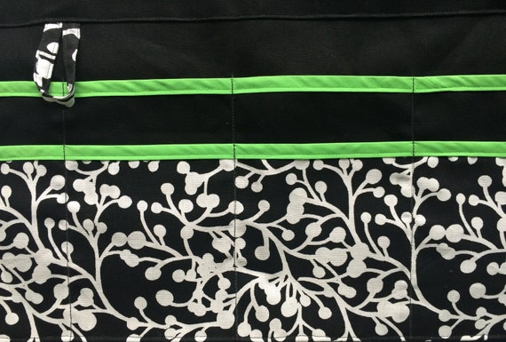 Utility Apron/Half Apron with 8 pockets and loop in black white cherries with Kelly Green trim