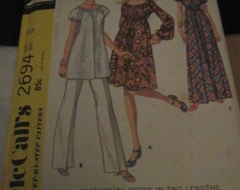 Vintage McCALL'S Pattern #2694.. sz.14..Maternity dress 2 lengths,top & pants ...1970....#43....