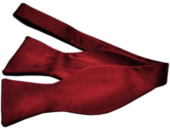 Men's Solid Burgundy Self-Tie Bowtie, for Formal Occasions