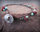Turquoise Anklet, Southwestern, Boho Bohemian Anklet Bracelet, Tribal Bohemian Jewelry