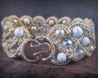 Boho pearl and crystal Cuff Bracelet, Artisan  Hook and Eye Clasp, White cottage chic
