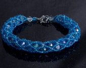 Light Blue Czech Glass and Blue Swarovski Crystal Netted Bead Bracelet with Heart Clasp, Blue Wrist Wrap