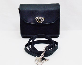 Vintage GIANNI VERSACE Couture Evening Silk  Crossbody CONVERTIBLE Clutch With Embellished Gemed Front Magnetic Closure