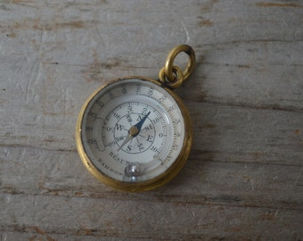 Antique Miniature Compass Thermometer Watch Fob