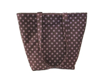 Brown Tote Bag, Floral Cloth Purse, Pink Polka Dots, Pink Flowers, Handmade Handbag, Fabric Shoulder Bag, Gift for Her