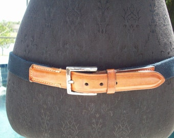 Nautical Blue Canvas / Tan Leather Belt