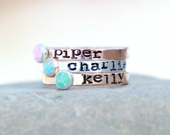 HAND STAMPED Stacking OPAL Ring - Hand Stamped stacking rings with Gemstones - Personalized, silver, pink gold rings - Mothers ring -Wedding