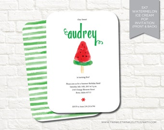 Watercolor Watermelon Ice Cream Pop Birthday Party Digital Invitation