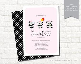 Pink Girly Panda 1st Birthday Party Digital Invitation