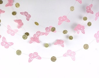 Gold and Pink Butterfly Paper Garland, Double-Sided, Bridal Shower, Baby Shower, Party Decorations, Birthday Decoration