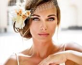 Bandeau style birdcage veil. 2016 bride hair jewelry collection. Vintage style bridal veil.  Pink ivory flower veil.  Royal Wedding