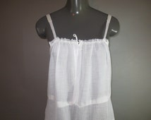 Victorian  1910's White Cotton Slip/Dress // Loose Fitting, Embroidered Skirt // Snap and Drawstring Front