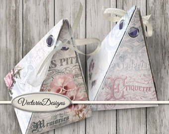 Shabby Elegant pyramid box printable diy paper crafting favor digital download instant download digital collage sheet - VDBXSC1351