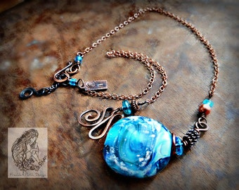 Large Cremation Glass Focal Necklace/ Memorial Copper Necklace w Pet Ashes