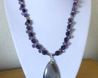 Apatite for Amethys/Genuine amethyst pendant with beaded genuine amethyst beads in many shapes/womens amethyst necklace and pendant