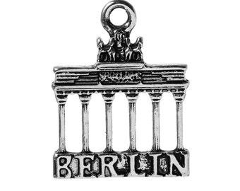 5 BERLIN Charm Pendants, Brandenburg Gate Landmark, Germany Travel Charms, 23x18mm, chs2349
