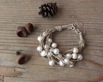 Pearl Bracelet/  Linen Cord Bracelet / Personalized Bracelet /  Wedding Bracelet / Gift for Her / Anniversary Gift / Gift For Wife