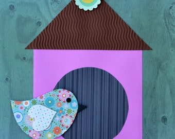 "Handmade Original Paper Collage - 12"" x 12"" - Bird and Birdhouse - Mixed Media Collage 2016-26"