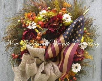 FALL SALE Patriotic Wreath, Fall Wreath, Autumn Wreath, Americana Wreath, Williamsburg Wreath, Flag Wreath, Thanksgiving, Harvest, Tea Stain