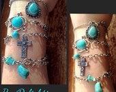 Turquoise Cross and Stone Charm Bracelet Set-Southwestern Bracelet Set-Country Chic-Bracelet Gift Set