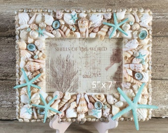 5 x 7 Seashell Frame, Shell Frame, Beach Decor, Photo Frame, Coastal Decor, Starfish Photo Frame, Shell Picture Frame