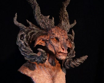 Fully Painted Limited Edition Bust - The Forest Lord- Satyr Cernunnos Faun Manitou Pagan Forest Spirit Bust