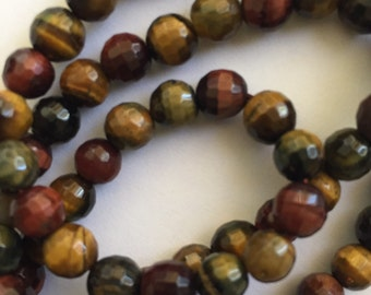 Tigers Eye Beads Multufaceted 6 mm Brown Blue Gold 66 Beads