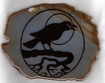 Agate slice, Crow's Moon, pentacle, altar piece, wiccan tool