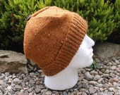 Rusty orange tweed effect adult men's / teenage boy's hand knitted square hat.