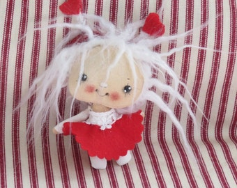 OOAK cloth doll , Tiny Angel doll ,  tiny fabric doll ,Gift for her , fairy doll , Valentine gift .