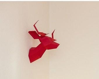 SOLDES/ON SALE Red Foldeer - Deer Head Papertoy