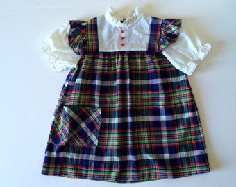 Vintage Plaid Flutter Sleeve Dress (4t/5)