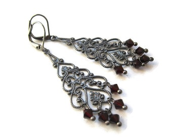 Gothic Chandelier Earrings with Blood Red Crystals. Vampire Jewellery. Custom Colours. Lorena Earrings. MADE TO ORDER